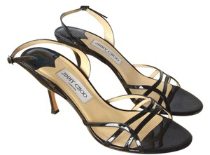 Jimmy Choo Patent Leather Strappy Heels Black Sandals