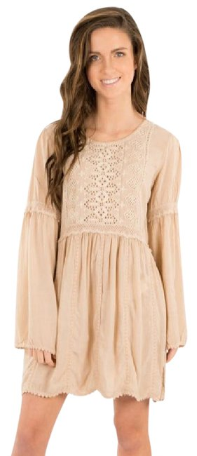 Item - Deep Sand Dress with Embroidery and 3/4 Sleeves Cover-up/Sarong Size 4 (S)