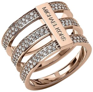 Michael Kors NWT. Size 7. Rose Gold Tone Tri Stack Open Pave Bar Ring