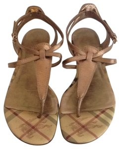 Burberry Haymarket Thong Golden Sandals