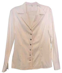 Escada Tailored Sophisticated Classic Collared Shirt Button Down Shirt White