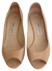 Jimmy Choo Patent Leather Italy 40 Nude beige Wedges