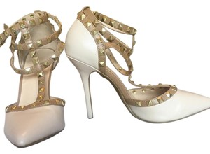 Charlotte Russe Valentino Studded Pointed Toe Creme Tan Gold Pumps