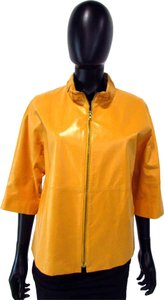 Lafayette 148 New York 3/4 Sleeve Lined Zip Up Mustard Yellow Jacket