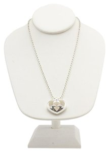 Gucci Gucci Sterling Silver GG Heart Beeded Pendant Necklace (93440)