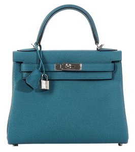 Hermès Hr.k0527.02 Blue Togo Leather Palladium Satchel