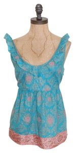 Anthropologie Ruffle Floral Edeme & Esyllte Top BLUE