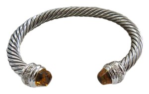 David Yurman Cable Classics Collection - 7mm Citrine & Diamond Cuff Bracelet, Med