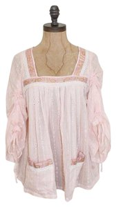 Moon Collection Bohemian Gauze Eyelet Peasant Hiippie Top PINK