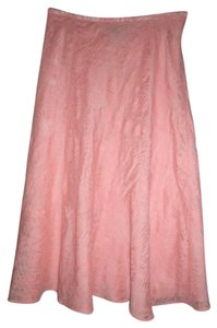 Jones Wear Linen Blend Trumpet Midi Length Embossed Inlay Skirt Peach