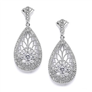 Mariell Art Deco Etched Cubic Zirconia Wedding Earrings 4021e