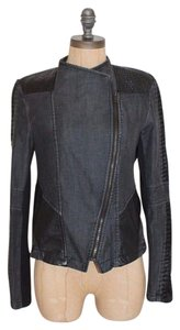 COMME USA Moto Faux Leather Denim Motorcycle Jacket