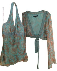Laundry by Shelli Segal Teal / Rust Halter Top