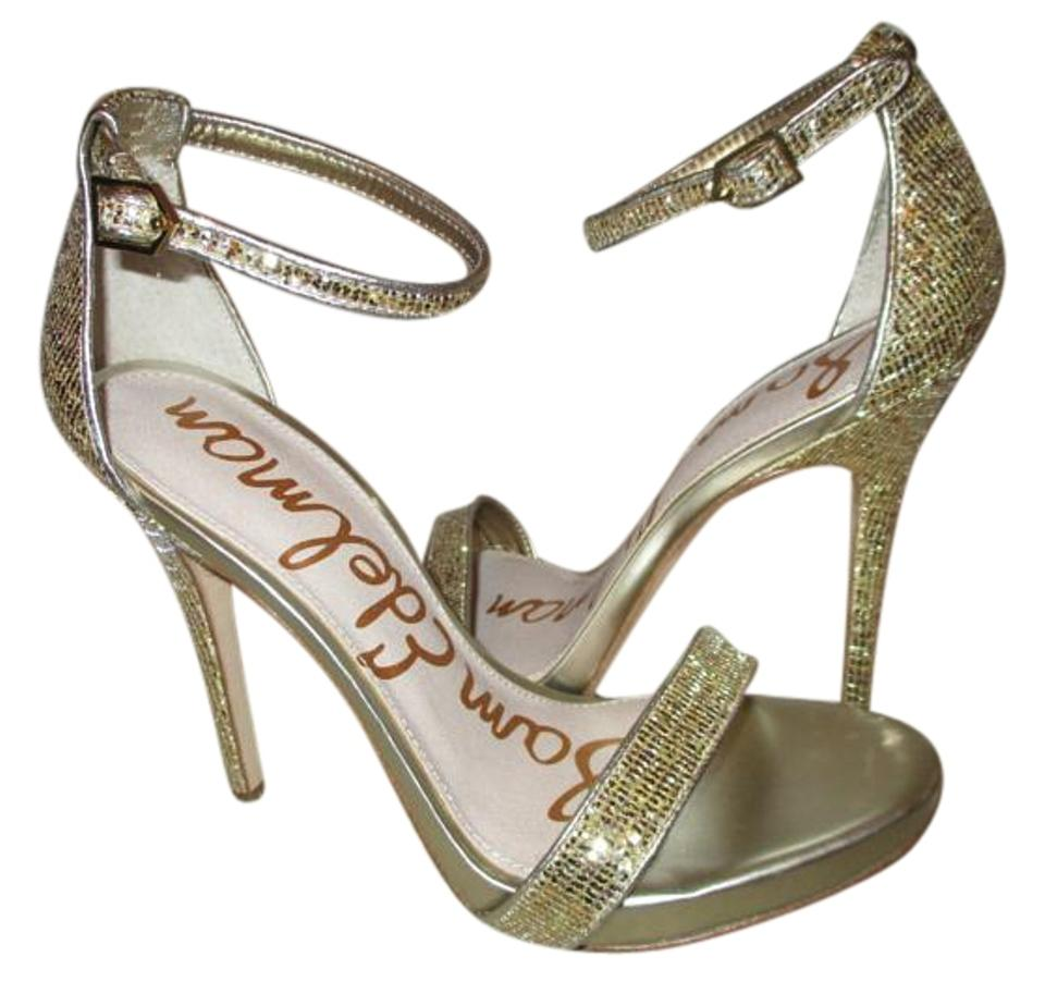 38677bbcd8b85 Sam Edelman Gold Eleanor Jute Glitter Ankle Strap Sandals Size US 7 ...