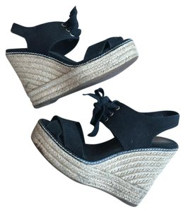 Tory Burch Espadrille Summer Black Beige Wedges