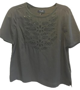 Madewell Embroidered Silk Top Black