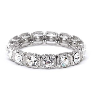 Mariell Silver Or Prom Stretch with Solitaires Bracelet