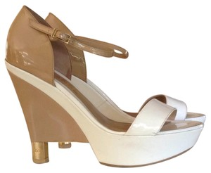 Chanel White and tan Platforms