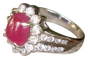 Other Sterling Silver Ring with a natural Ruby & white Topaz gemstones