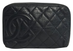 Chanel Leather Distressed Black Clutch