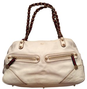 Gucci Nautical Vintage Navy Chain Satchel in White