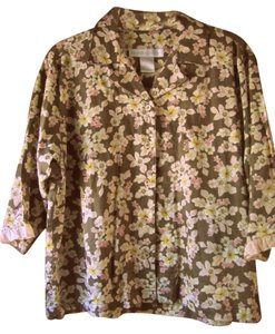 Crabtree & Evelyn Floral Size Small Button-down Top Brown