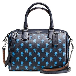 Coach Small Strap Zip Top Flowers Everyday Satchel in black
