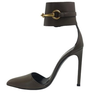 Gucci 353798 Patent Leather Grey Field Pumps