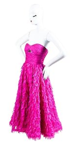Oscar de la Renta Ss04 Fuchsia Tiered Petal Strapless Full Dress