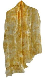 St. John NEW luxurious 100% silk yellow-floral ruffle-trimmed