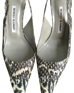 Manolo Blahnik Black, white, grey Pumps