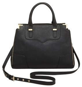 Rebecca Minkoff Leather Fall Gold Edgy Chic Satchel in black