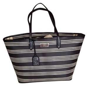 Ralph Lauren Bridgefoot Stripes Tote in Black White