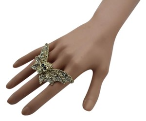 Women Ring Large Gold Metal Wings Skull Bat Elastic Band One Size