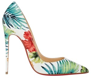 Christian Louboutin So Kate Hawaii Floral Red Bottoms White Pumps