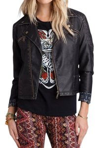 Billabong Faux Leather Edgy Fall black Leather Jacket