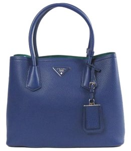 Prada Daino Double Tote in Navy