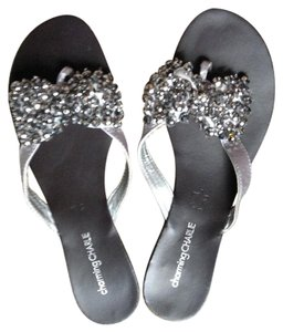 Charming Charlie Jeweled Flat Sparkle Silver/Grey Sandals