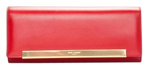 Saint Laurent Ysl Leather Red Clutch