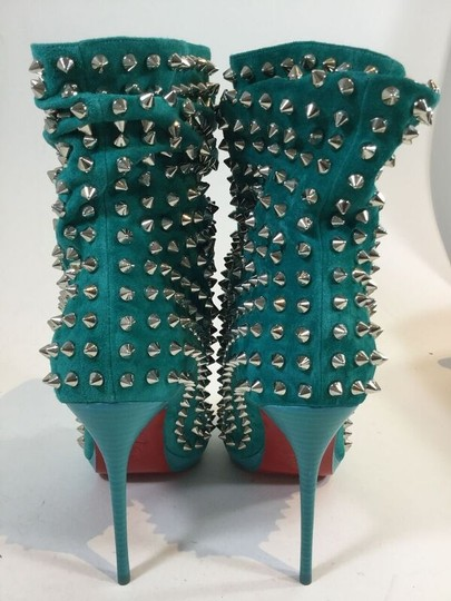 Christian Louboutin Studded Spike Pumps Turquoise Boots