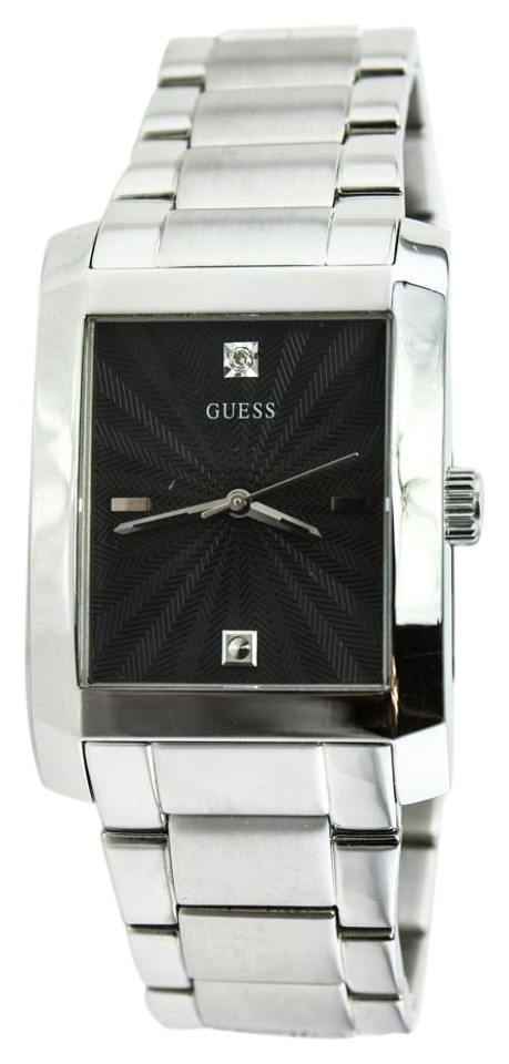 58680606e08a Guess Guess Mens G10150G Rectangle Diamond Stainless Steel Watch Image 0 ...