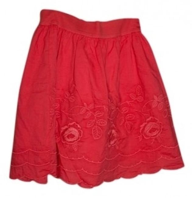 Forever 21 Scallop Edged Floral Embroidery Tutu-like Mini Skirt pomegranite