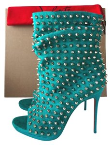 Christian Louboutin Spike Studded Studs Leather Suede Open Toe High Heel Luxury turquoise Boots