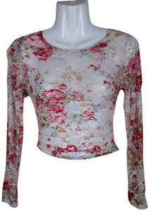 Lisa Nieves Lace Stretchy Floral Print Spring Longsleeve Mesh Summer Top red, pink, white and olive green