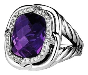 David Yurman DAVID YURMAN ST.SILVER LABYRINTH DIAMOND & AMETHYST RING NEW BOX POUCH
