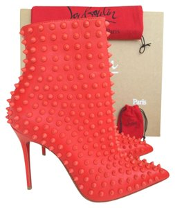 Christian Louboutin Spike Snakilta Corazon Spiked Pointed Toe Pointy Toe Luxury Red Boots