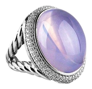 David Yurman DAVID YURMAN LILAC QUARTZ PAVE DIAMOND SILVER SPLIT SHANK OVAL RING