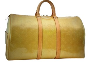 Louis Vuitton Vernis Beige (yellow) Travel Bag