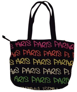Robin Ruth Paris Neon Graffiti City-name Lime Green Tote in black