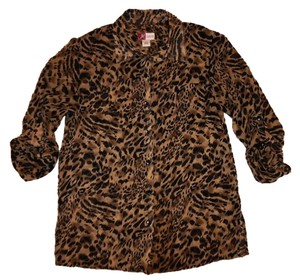 JM Collection Animal Print Sheer Wrinkled 3/4 Sleeves Career Button Down Shirt Brown, Beige, Black